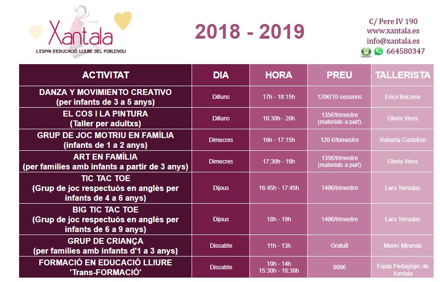 Activitats de tarda 2018-19